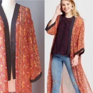 Xhilaration Sheer Orange Print Kimono Duster